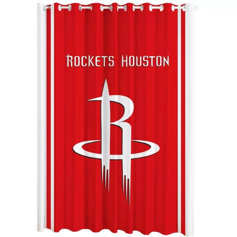 NBA Rockets Houston Blackout Curtains For Window Treatment Set For Living Room Bedroom