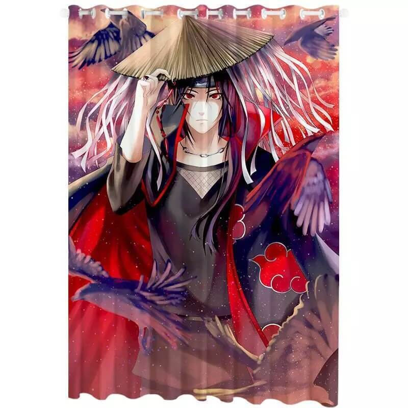 Anime Naruto Uchiha Itachi #11 Blackout Curtains For Window Treatment Set For Living Room Bedroom