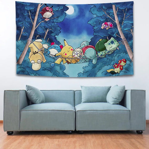 Pokemon Pikachu #7 Wall Decor Hanging Tapestry Home Bedroom Living Room Decoration