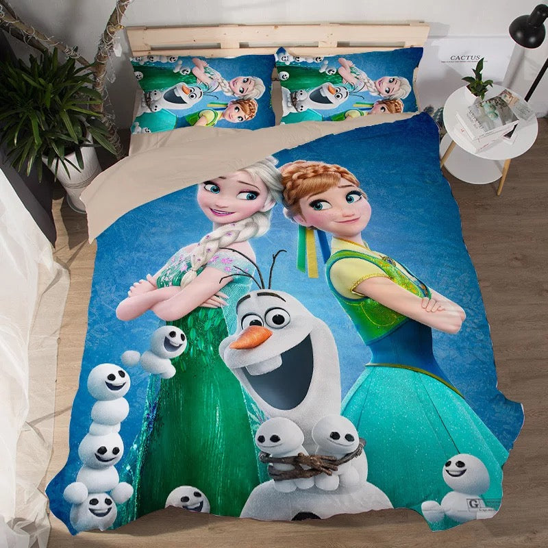 Frozen Anna Elsa Princess #4 Duvet Cover Quilt Cover Pillowcase Bedding Set