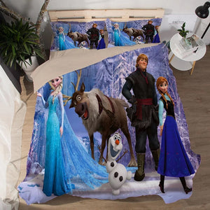 Frozen Anna Elsa Princess #5 Duvet Cover Quilt Cover Pillowcase Bedding Set