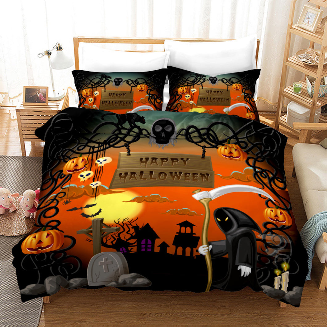 Halloween Pumpkin #4 Duvet Cover Quilt Cover Pillowcase Bedding Set