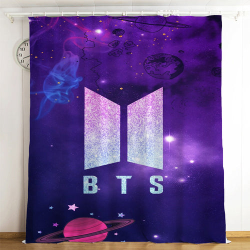 Kpop BTS Bangtan Boys Army A.R.M.Y #1 Blackout Curtains For Window Treatment Set For Living Room Bedroom