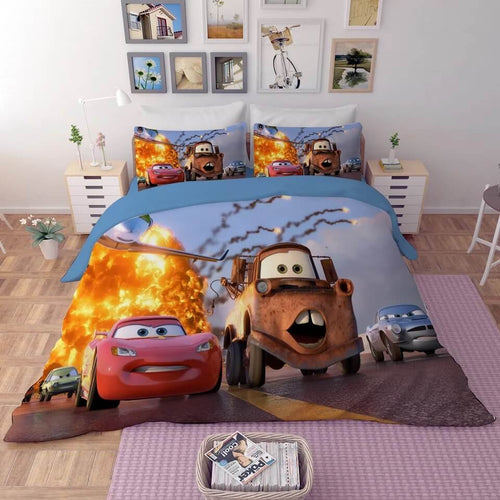Movie Cars Lightning McQueen #4 Duvet Cover Quilt Cover Pillowcase Bedding Set
