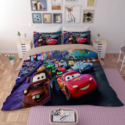 Movie Cars Lightning McQueen #6 Duvet Cover Quilt Cover Pillowcase Bedding Set