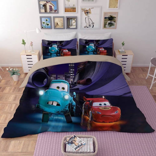 Movie Cars Lightning McQueen #9 Duvet Cover Quilt Cover Pillowcase Bedding Set Bed Line