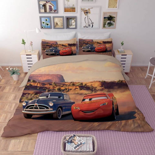 Movie Cars Lightning McQueen #7 Duvet Cover Quilt Cover Pillowcase Bedding Set Bed Line