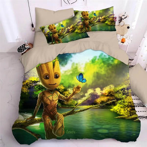 Guardians of the Galaxy Groot Star Lord Rocket #3 Duvet Cover Quilt Cover Pillowcase Bedding Set Bed Linen