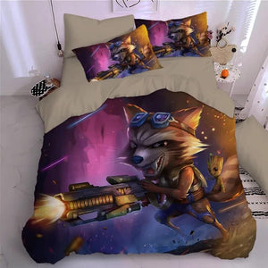 Guardians of the Galaxy Groot Star Lord Rocket #7 Duvet Cover Quilt Cover Pillowcase Bedding Set Bed Linen