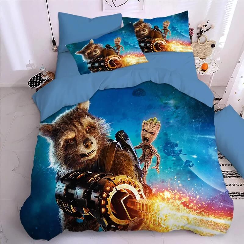 Guardians of the Galaxy Groot Star Lord Rocket #8 Duvet Cover Quilt Cover Pillowcase Bedding Set Bed Linen