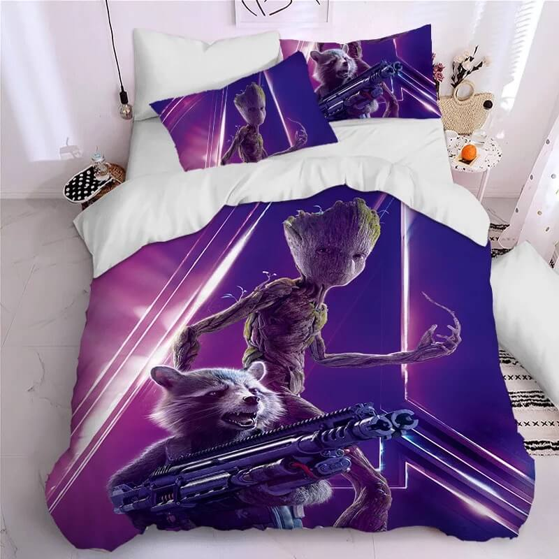 Guardians of the Galaxy Groot Star Lord Rocket #9 Duvet Cover Quilt Cover Pillowcase Bedding Set Bed Linen