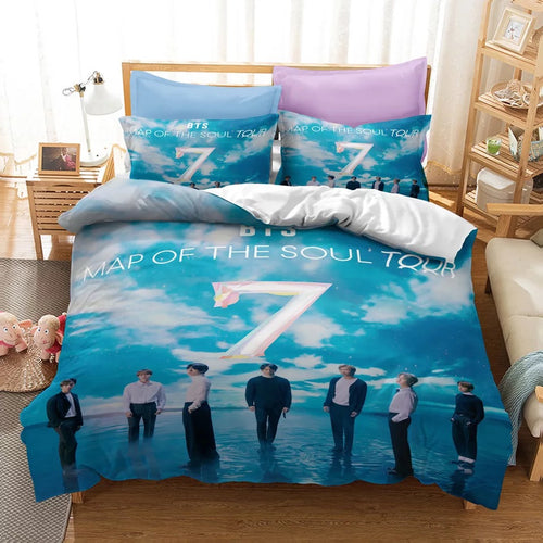 BTS MAP OF THE SOUL 7 #17 Duvet Cover Quilt Cover Pillowcase Bedding Set Bed Linen Home Bedroom Decor