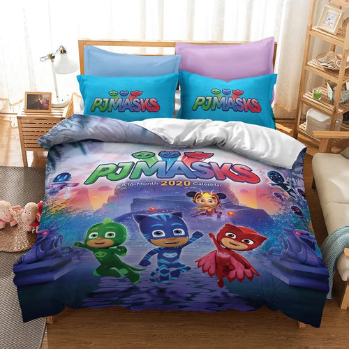 PJmasks #10 Duvet Cover Quilt Cover Pillowcase Bedding Set Bed Linen Home Decor