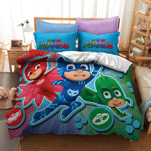 PJmasks #14 Duvet Cover Quilt Cover Pillowcase Bedding Set Bed Linen Home Decor