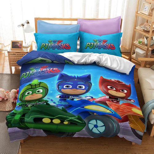 PJmasks #15 Duvet Cover Quilt Cover Pillowcase Bedding Set Bed Linen Home Decor