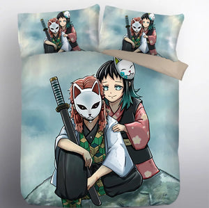 Demon Slayer Kimetsu no Yaiba Sabito Makomo #9 Duvet Cover Quilt Cover Pillowcase Bedding Set Bed Linen