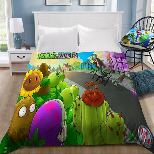 Plants vs Zombies #1 Bedding Sheet Flat Sheets Bed Sheet Bedding Linen Double Queen Size Bedsheet