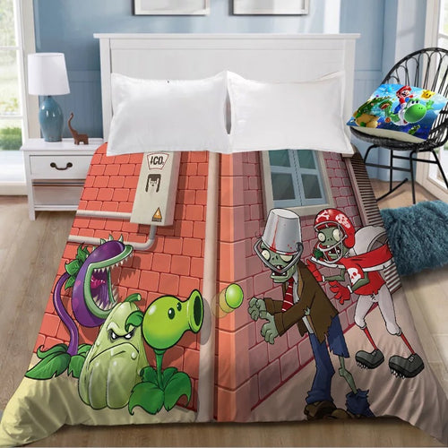 Plants vs Zombies #3 Bedding Sheet Flat Sheets Bed Sheet Bedding Linen Double Queen Size Bedsheet