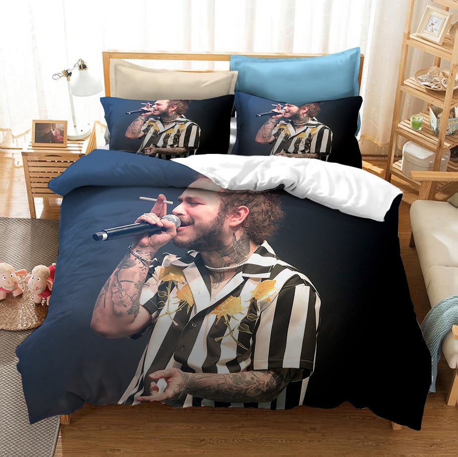 Post Malone #1 Duvet Cover Quilt Cover Pillowcase Bedding Set Bed Linen Home Bedroom Decor
