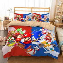 Load image into Gallery viewer, Super Mario And Sonic The Hedgehog #1 Duvet Cover Bedding Set