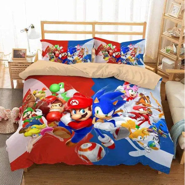 Super Mario And Sonic The Hedgehog #1 Duvet Cover Bedding Set