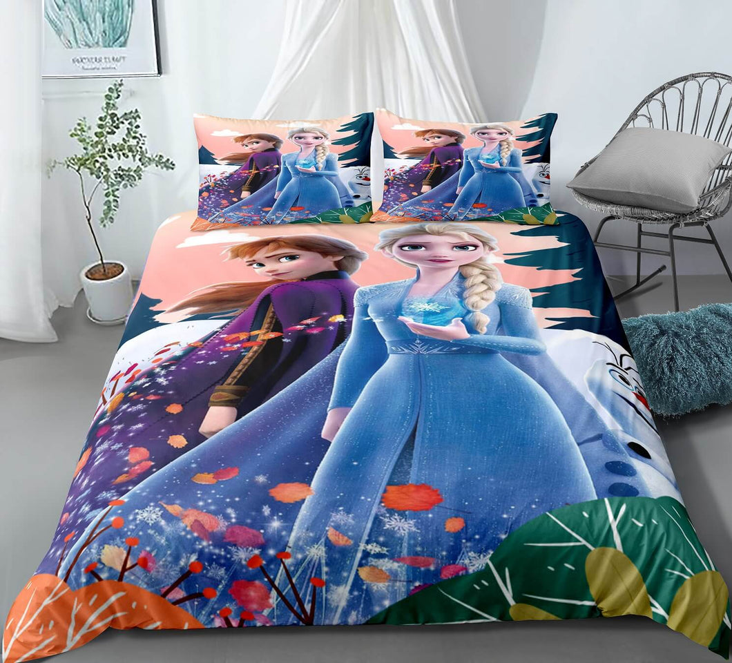 2019 Frozen Anna Elsa Princess #16 Duvet Cover Quilt Cover Pillowcase Bedding Set Bed Linen Home Bedroom Decor