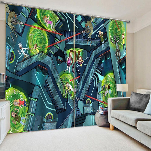 Rick and Morty #5 Blackout Curtains For Window Treatment Set For Living Room Bedroom Decor