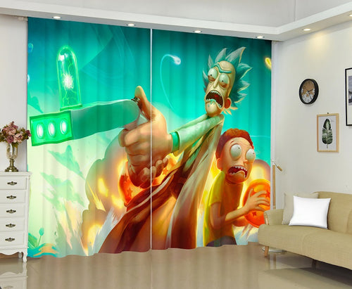 Rick and Morty #8 Blackout Curtains For Window Treatment Set For Living Room Bedroom Decor