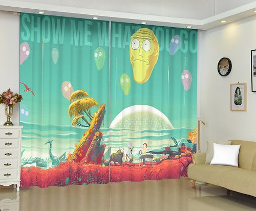 Rick and Morty #2 Blackout Curtains For Window Treatment Set For Living Room Bedroom Decor