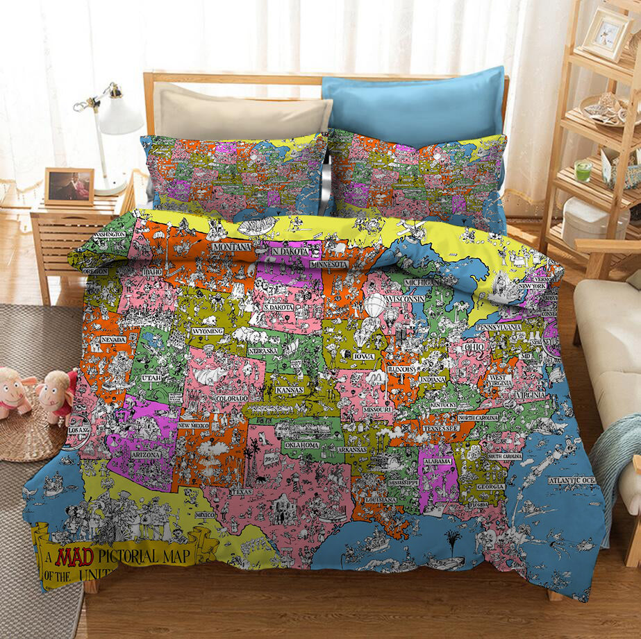 Map of the World #4 Duvet Cover Quilt Cover Pillowcase Bedding Set Bed Linen Home Decor