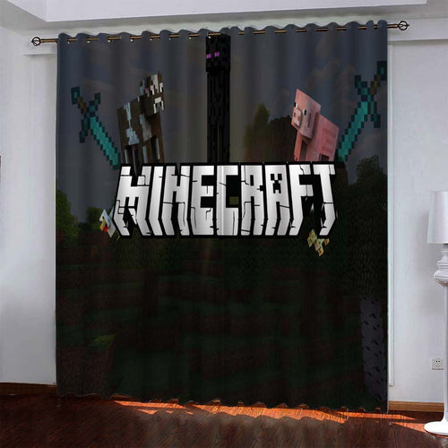Minecraft #5 Blackout Curtains For Window Treatment Set For Living Room Bedroom