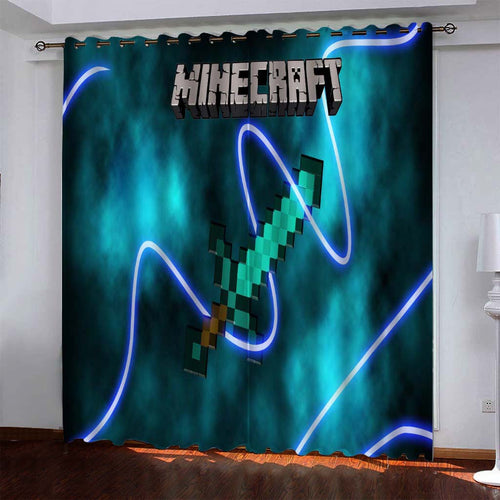 Minecraft #6 Blackout Curtains For Window Treatment Set For Living Room Bedroom
