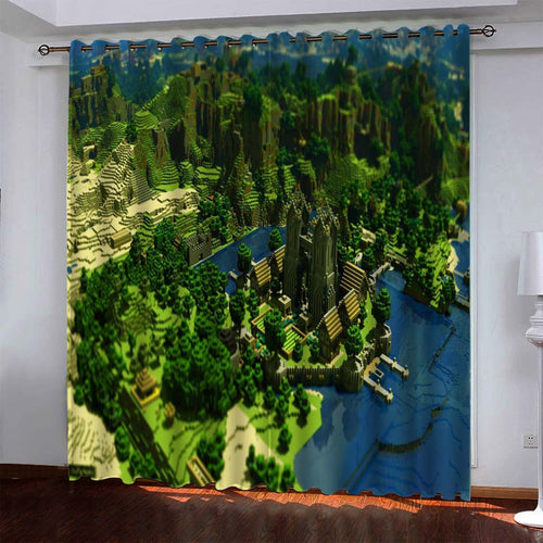 Minecraft #7 Blackout Curtains For Window Treatment Set For Living Room Bedroom