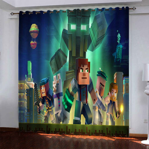 Minecraft #8 Blackout Curtains For Window Treatment Set For Living Room Bedroom