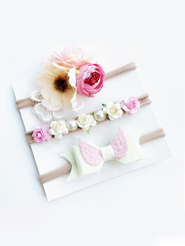 3-Piece Floral Headband (White)