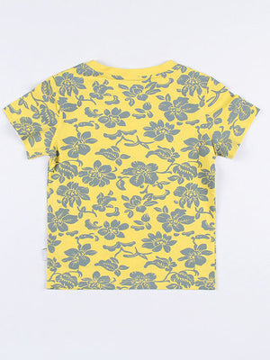 [PO] Floral Fish-bone T-Shirt (Yellow)