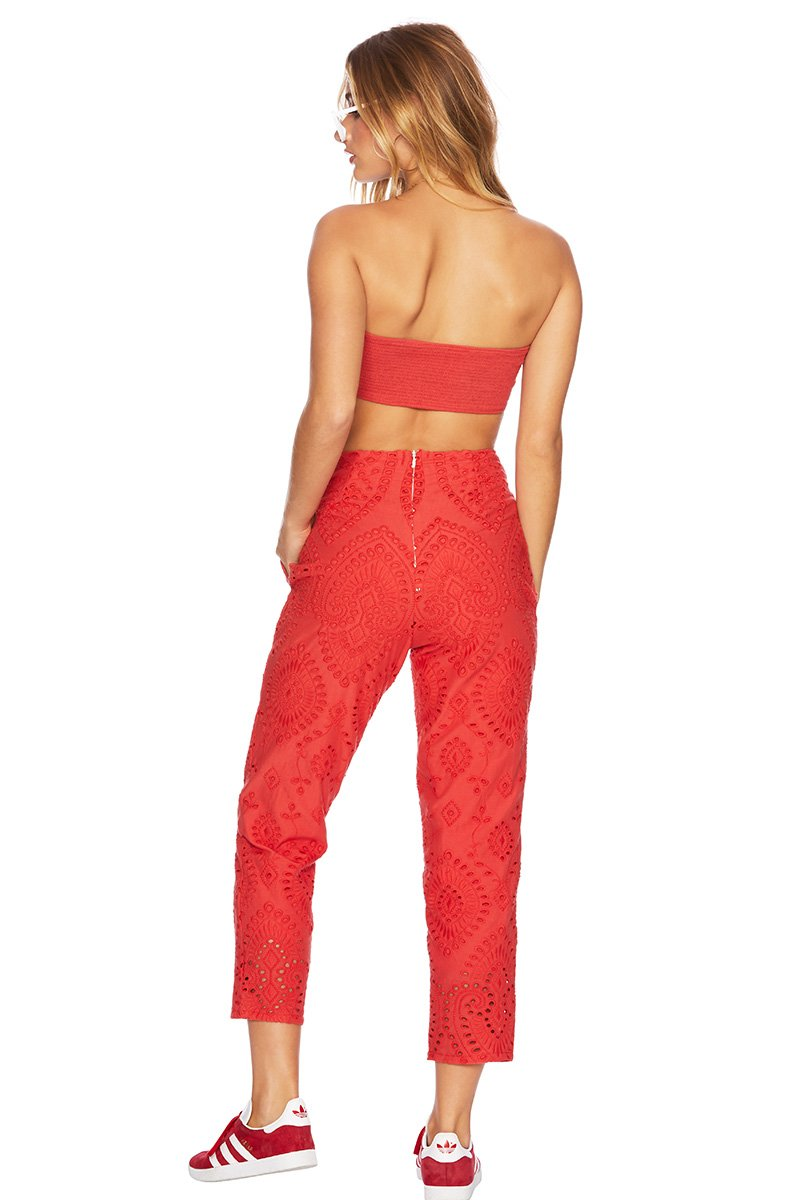 731dc35bb3b ... Eyelet Parker Pant Red - Beach Riot ...