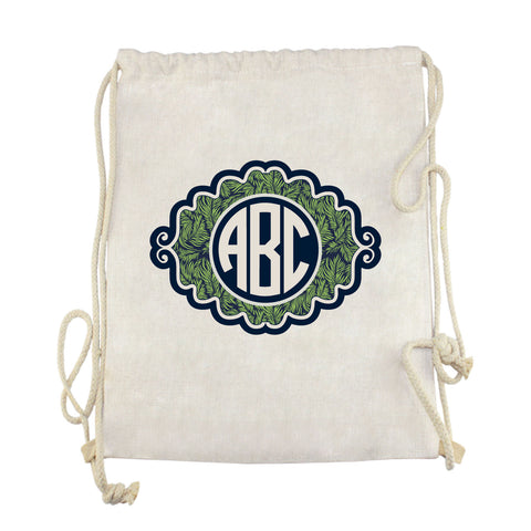 Palm Initials Drawstring Bag