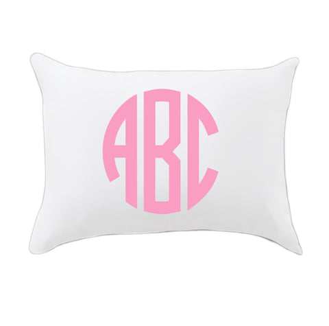 Pink Circle Initials Travel Pillowcase