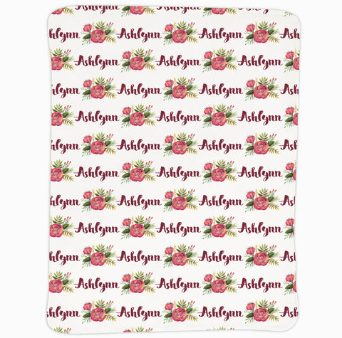 New Light Weight Burgundy Rose Name Blanket