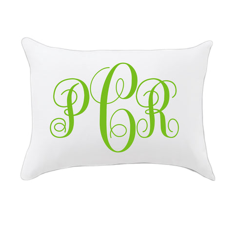 Green Fancy Initials Travel Pillowcase