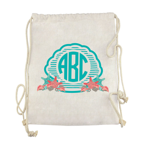 Shell Initials Drawstring Bag