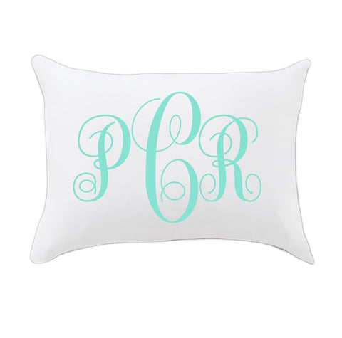 Mint Fancy Initials Travel Pillowcase
