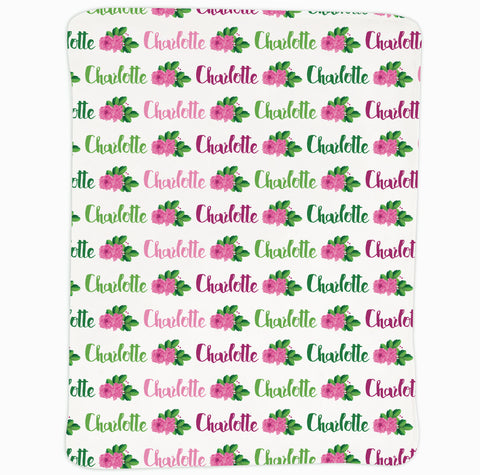New Light Weight Pink Green Rose Name Blanket