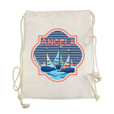 Sailboat Name Drawstring Bag