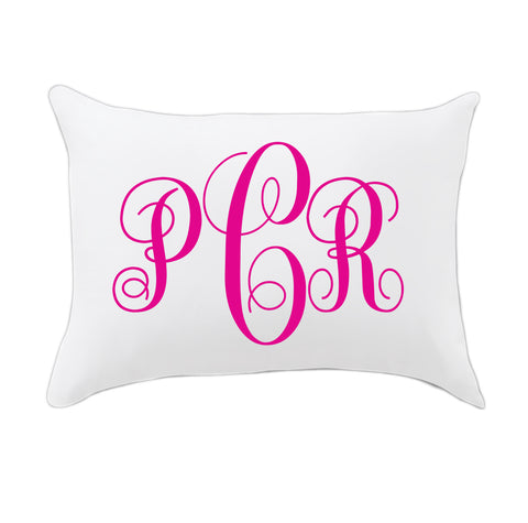 Hot Pink Fancy Initials Travel Pillowcase