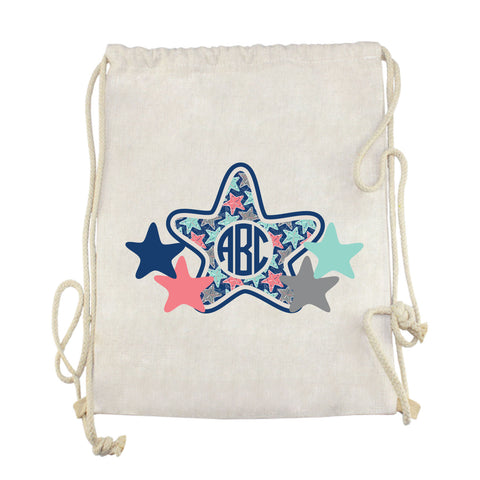 Starfish Initials Drawstring Bag