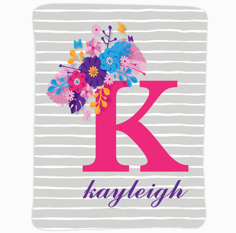 Baby Girls Gray Stripe Pink Name Blanket