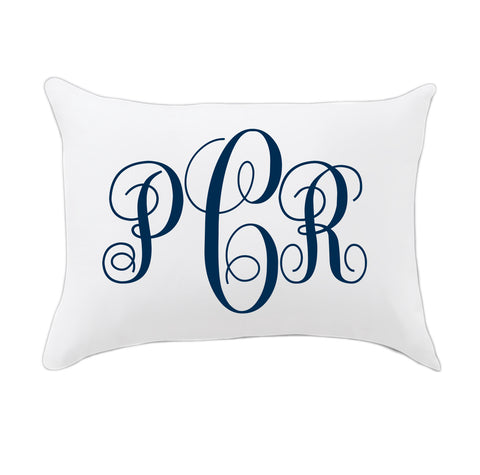 Navy Fancy Initials Travel Pillowcase