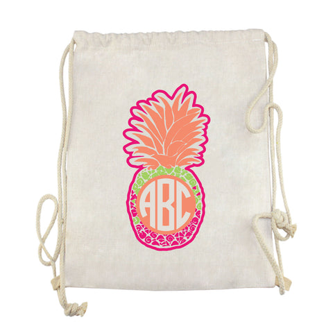 Fun Time Pineapple Initials Drawstring Bag